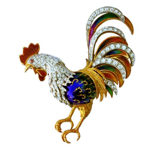 Enamel Diamond Gold Platinum Rooster Brooch, circa 1950.  A charming figural rooster enamel and diamond brooch. Signed Italian 18k yellow gold item features diamond (approx. 1.5tcw) platinum set feathers and plumage with multi-color enamel and single ruby set eye.    Via 1stdibs.