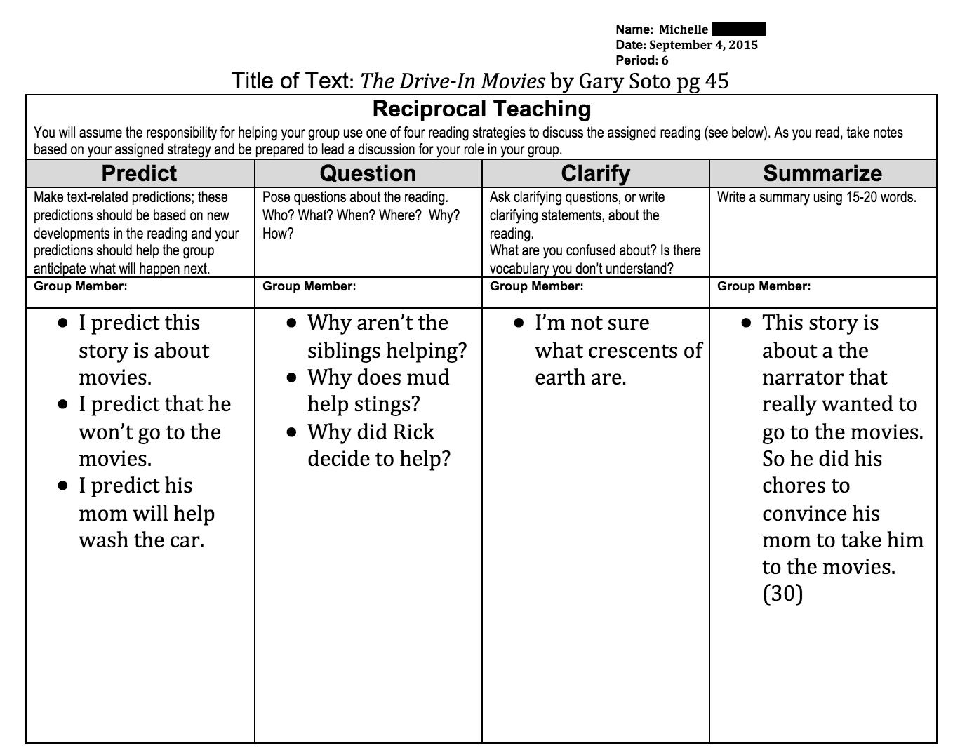 Worksheets Reciprocal Teaching Worksheet reciprocal teaching writing more