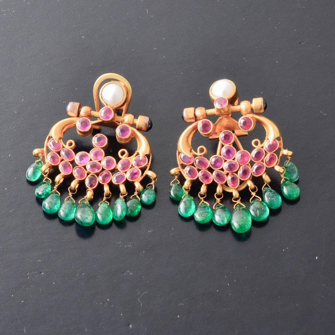 Indian gold ruby emerald drop earrings high karat yellow gold fine