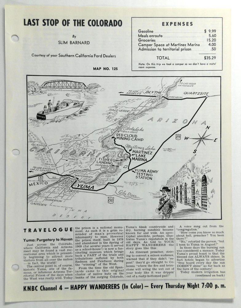Map Of Arizona Prisons.1960 S Yuma Arizona Army Proving Ground Martinez Lake Prison Mines