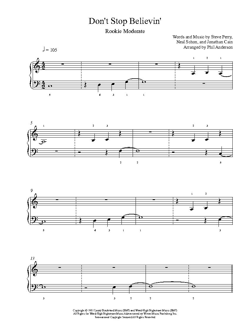 Don T Stop Believin By Journey Piano Sheet Music Rookie Level