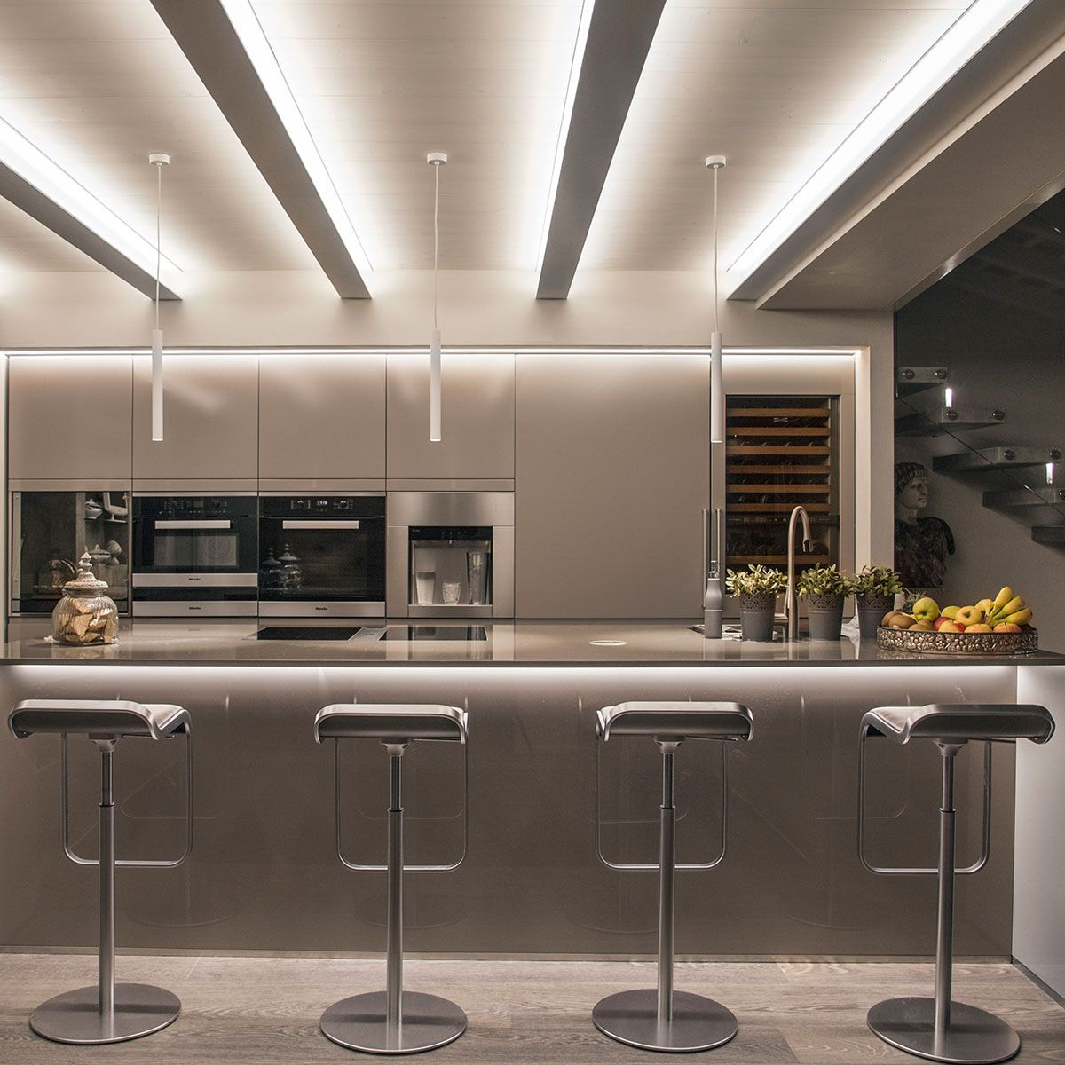 Every Detail Is Skilfully Illuminated The Flat Was A Loft Conversion With The Original Beams 2020 Ceiling Light Design Open Plan Kitchen Living Room Celling Design