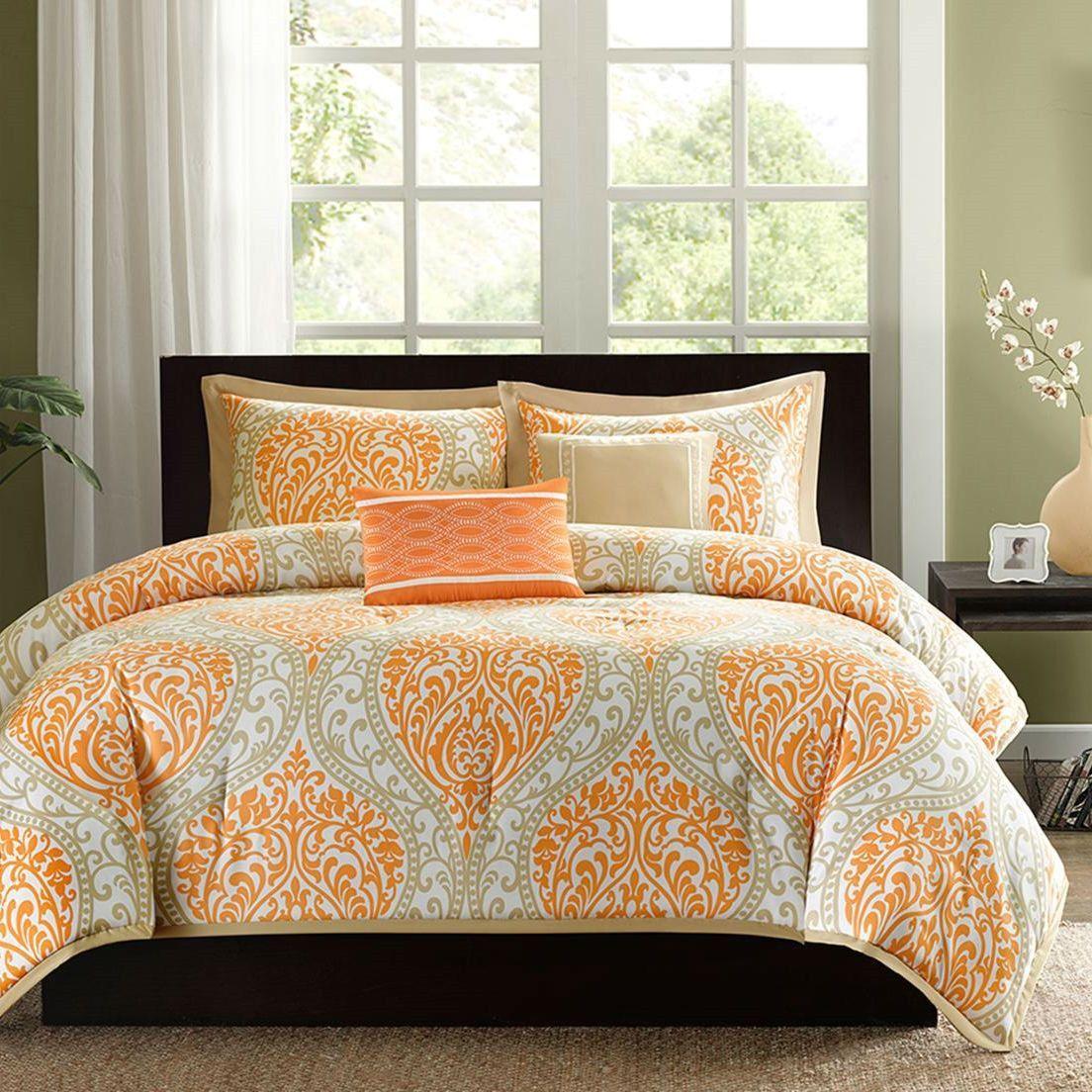 King size 5 piece comforter set in orange damask print - King size bedroom comforter sets ...