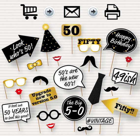 50th Birthday Party Printable Photo Booth Props Glasses Hats