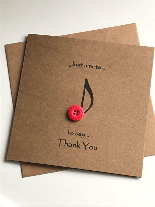Musikanmerkungsknopfkunst danken Ihnen, rustikales zu kardieren, danke, das In Handarbeit mac... #cartedevoeuxoriginale