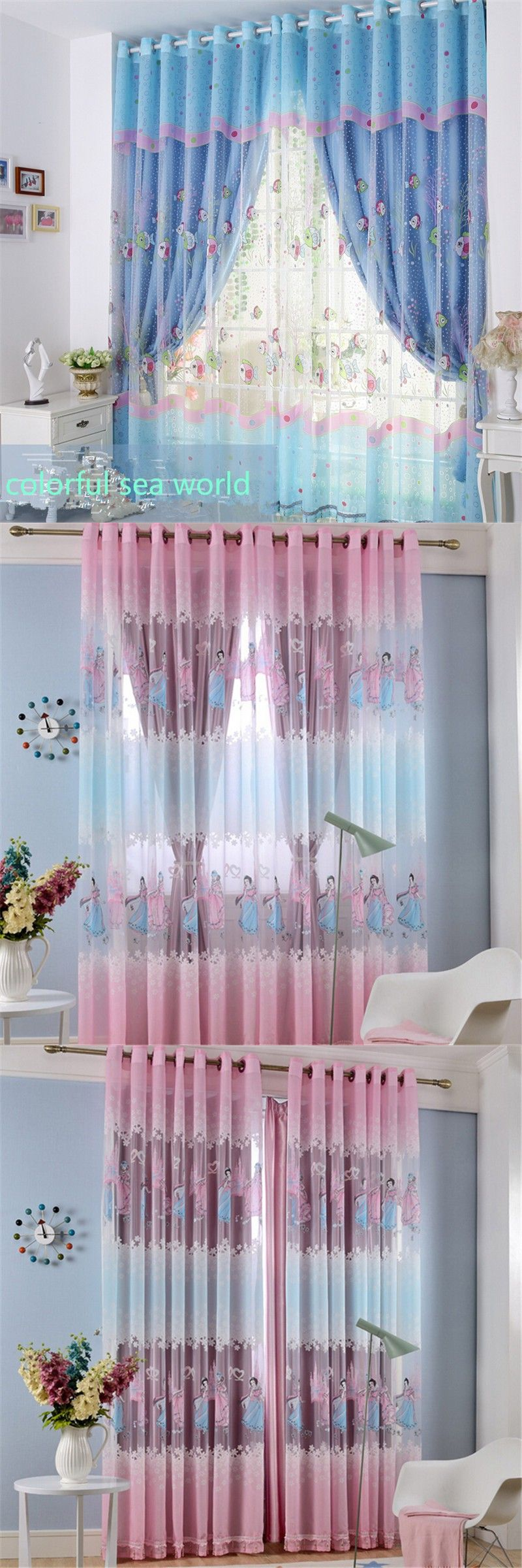 Kid blue sea world pink princess bedroom window tulle curtain+100% blackout finished luxury curtains is part of bedroom Blue Window -
