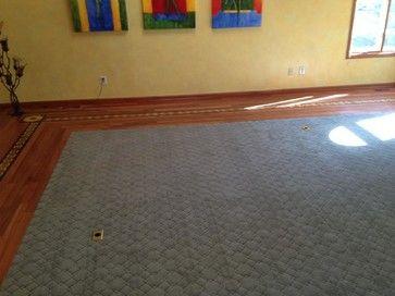 Flooring Wood Border with Carpet Inlay