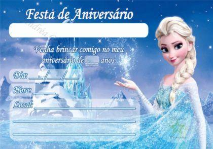 Convites De Aniversario Da Frozen Para Festa De Menina Com