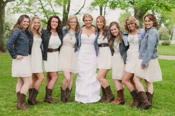 Bridesmaids In Jean Jackets Find This Pin And More On Rustic Wedding Dresses