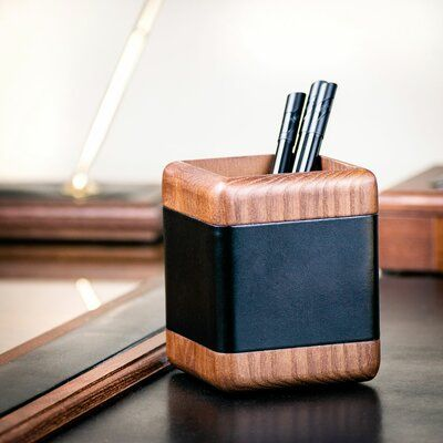 Dacasso Walnut and Leather Pencil Cup