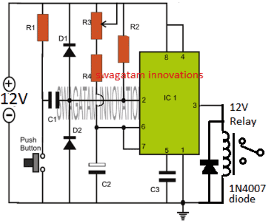 simple adjustable ic 555 timer circuit with relay switchingsimple adjustable ic 555 timer circuit with relay switching