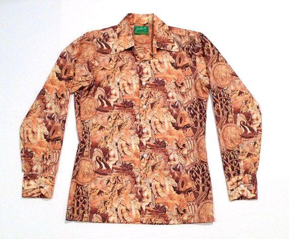 pretty nice 6f6a1 43ce6 Joe Namath Arrow Shirt Vintage Gold Greek Roman Art Disco ...