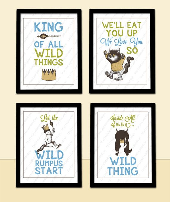 Where The Wild Things Are Inspired Wall Art   4 Poster Prints, any ...