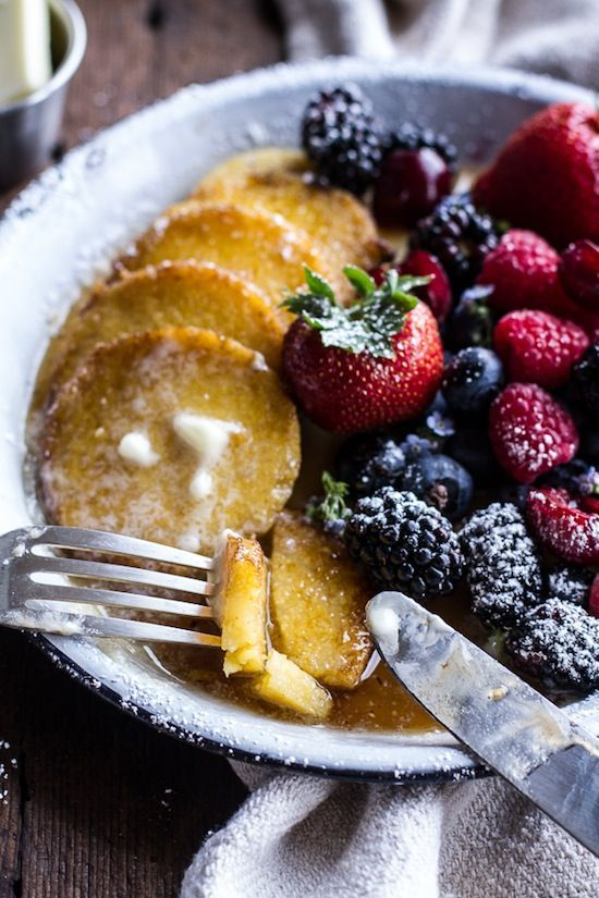 Sweet Polenta Pancakes With Fresh Berries is a healthy pancake alternative and can make your breakfast (or dessert!) that much tastier.