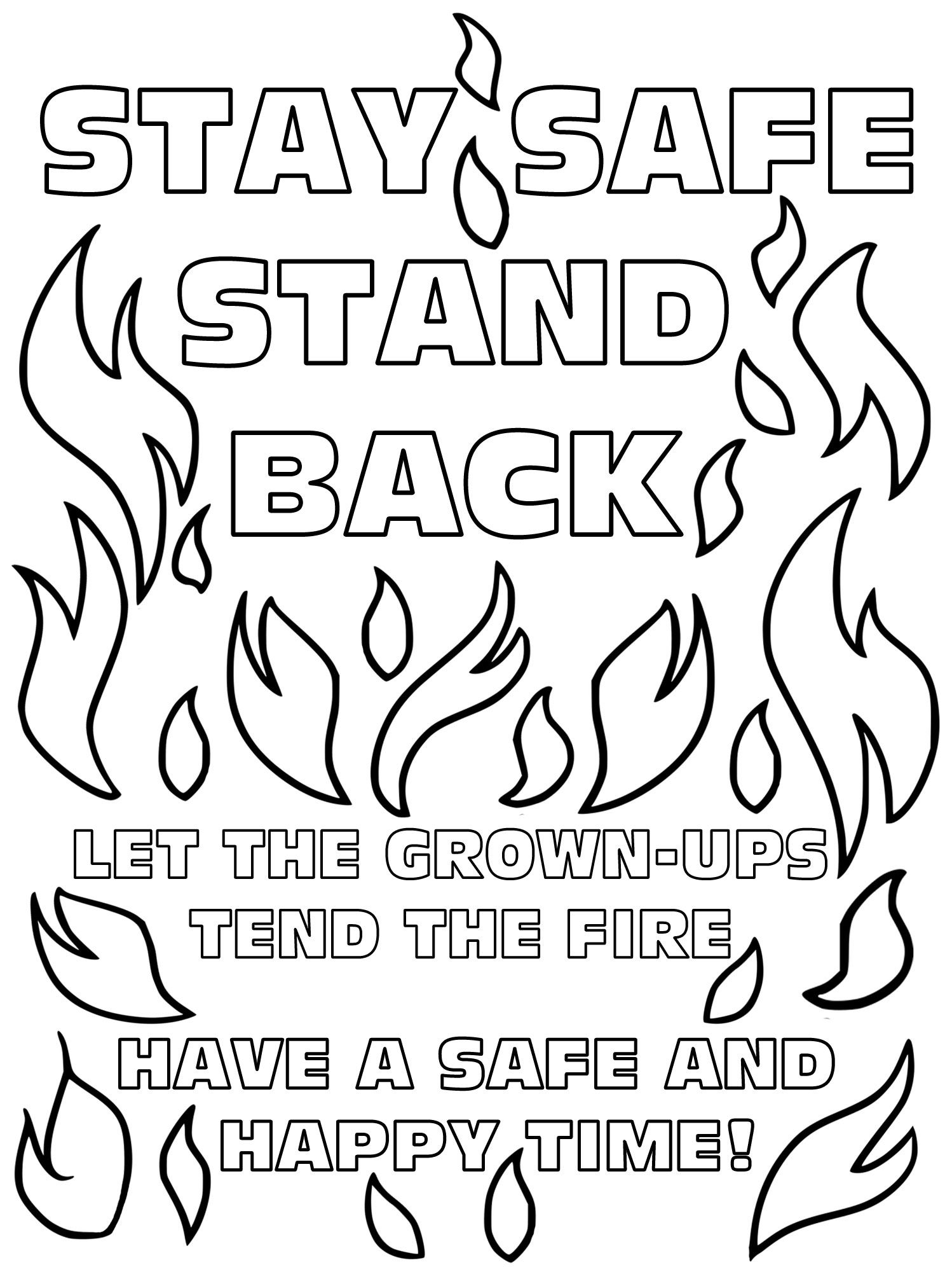 Printable Bonfire Safety Poster For Kids To Colour In