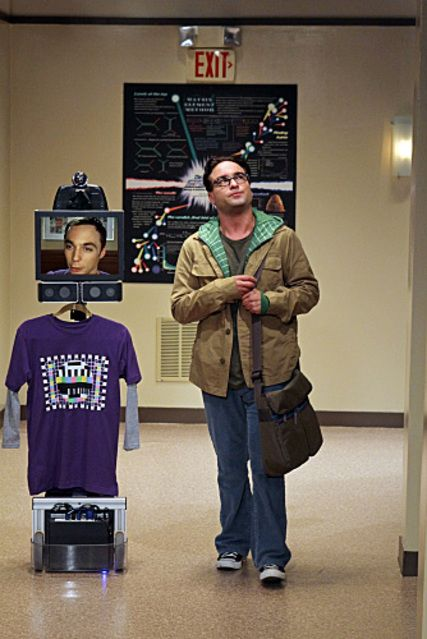 Telepresence Robot. Divides mind and body so Sheldon can clock-in and keep it antisocial—concurrently.