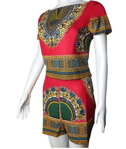 Dashiki ankara wax African print shorts and short sleeve crop top ...