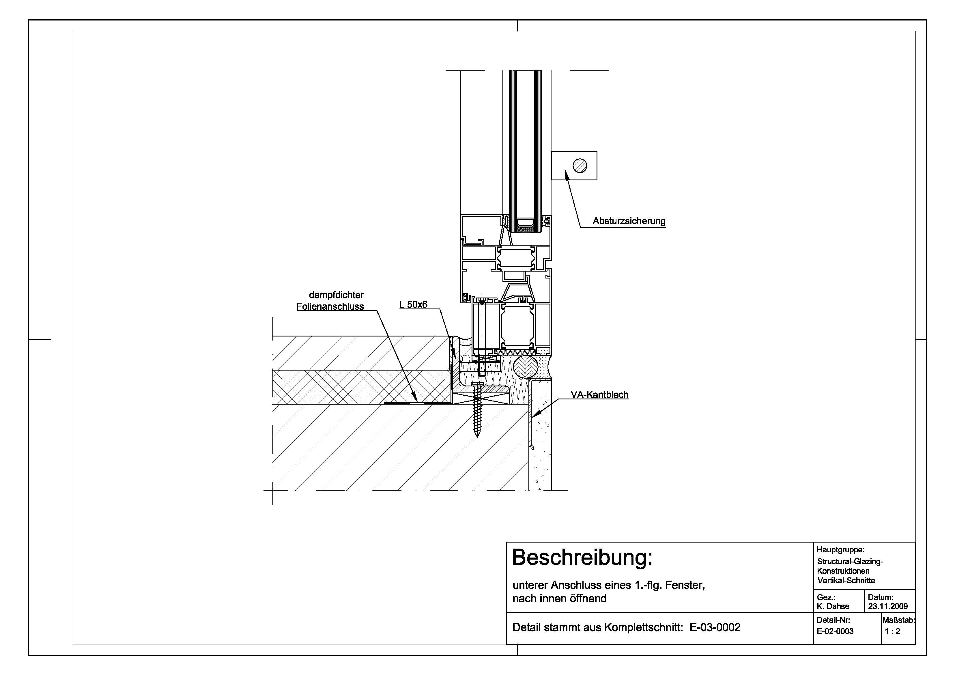 Tür detail anschluss  E-02-0003 unterer Anschluss 1.-flg. Fenster nach innen öffnend ...