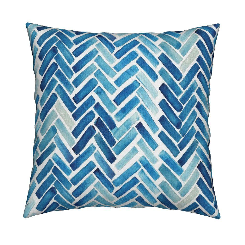 Colorful Fabrics Digitally Printed By Spoonflower Blue Herringbone Watercolor Watercolor Wallpaper Prints Watercolor Fabric