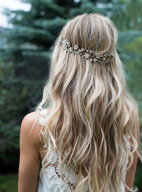 Boho Gold Hair Flower Crown Halo Hair Wrap Gold By Lottiedadesigns Brautfrisur Frisuren Leichte Wellen Flechtfrisuren