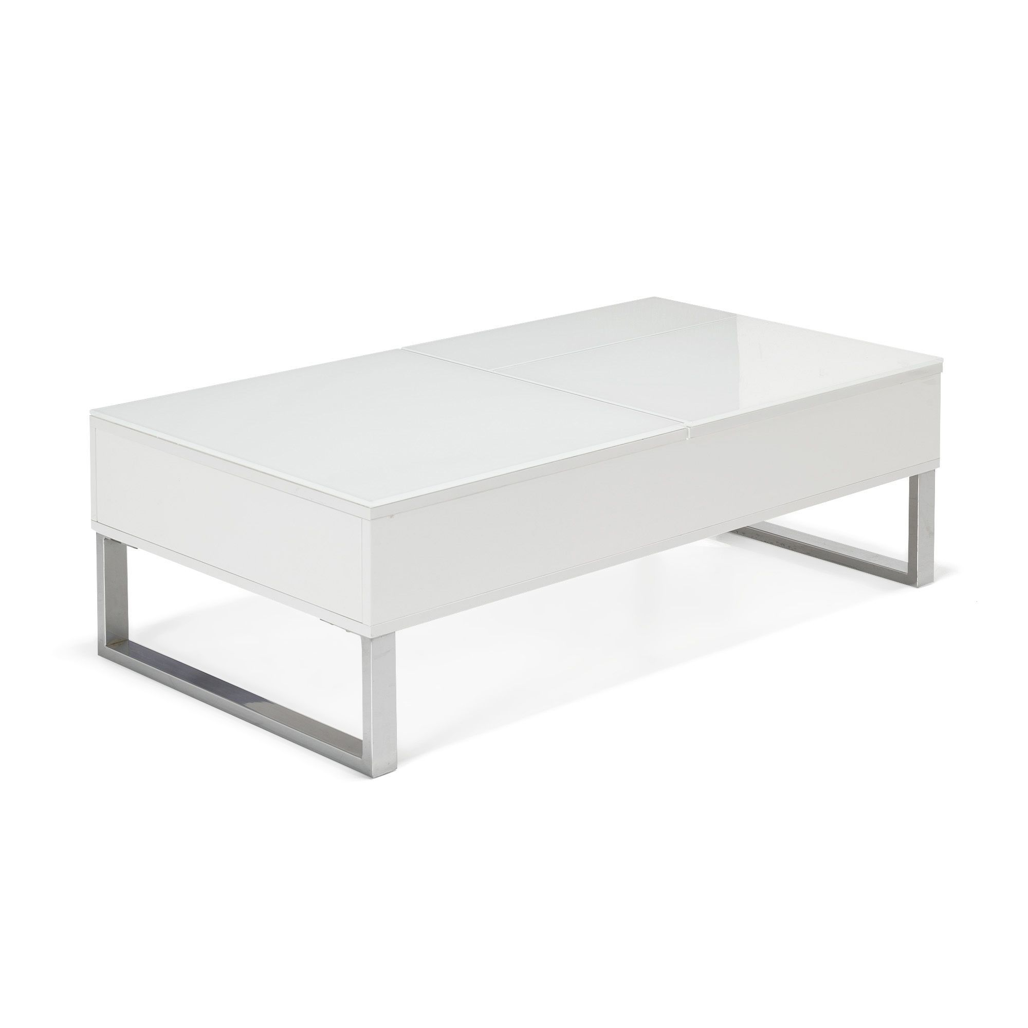 table basse avec tablettes relevables blanc kandis les tables basses tables basses et. Black Bedroom Furniture Sets. Home Design Ideas
