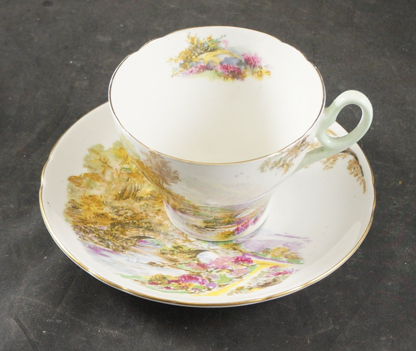 SHELLEY Fine Bone China Cup and Saucer HEATHER by RarebirdAntiques on Etsy