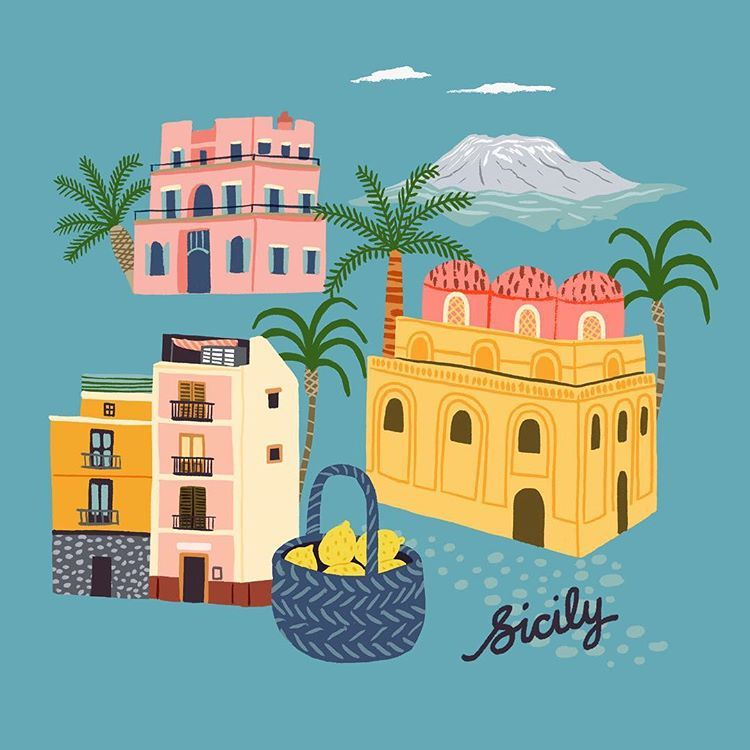 Sicily illustration holiday mood Sicilia, Città, Disegni