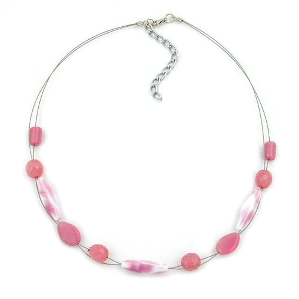 Necklace Glass Beads Pink 45Cm