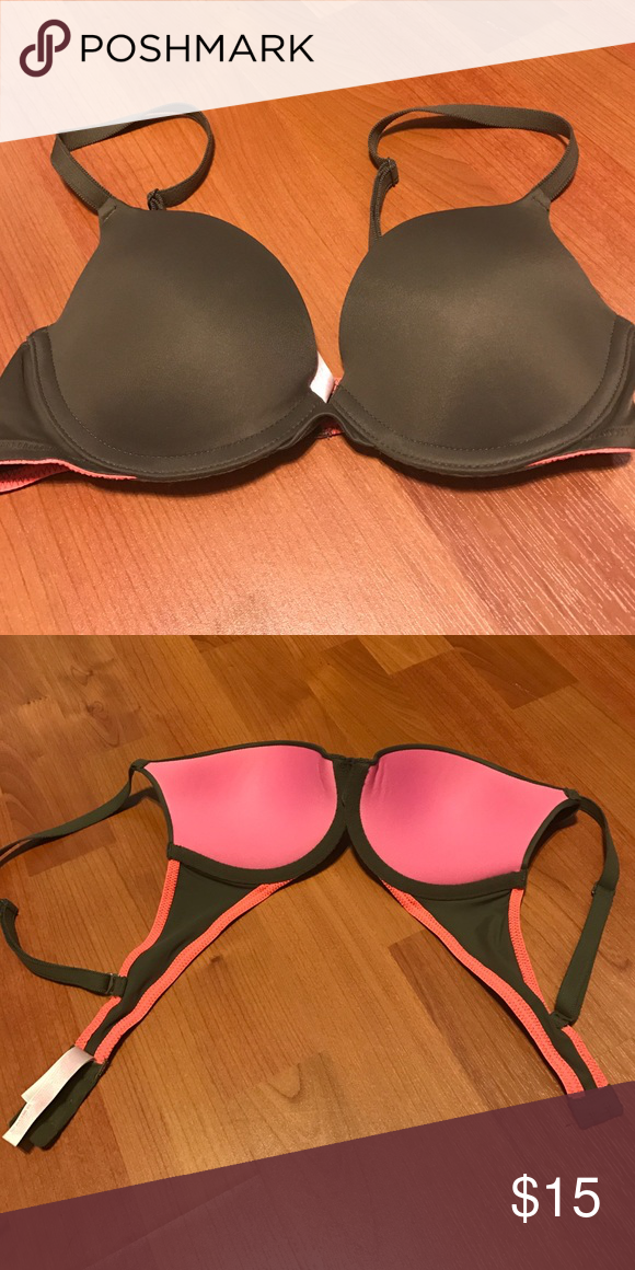 6185ea09a7 Wear Everywhere Push Up 32B Victoria s Secret Victoria s Secret 32B wear  everywhere push up bra. Only worn once. Excellent condition. Army green  with pink ...