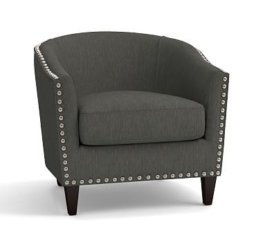 Harlow Upholstered Armchair with Pewter Nailheads, Polyester Wrapped Cushions, Performance Tweed Slate