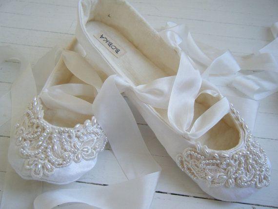 Organic Wedding Flats, Bridal Ballet Shoes, CHELSEY Ballet