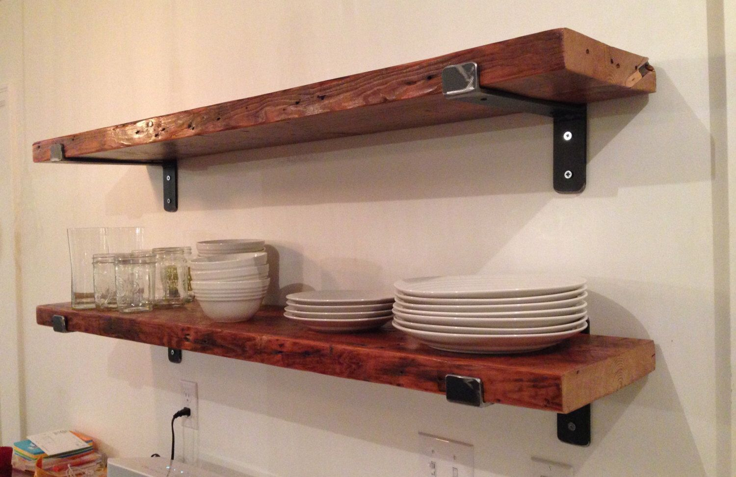 One Reclaimed Wood Shelf 48 X 11 With Two Handcrafted Metal