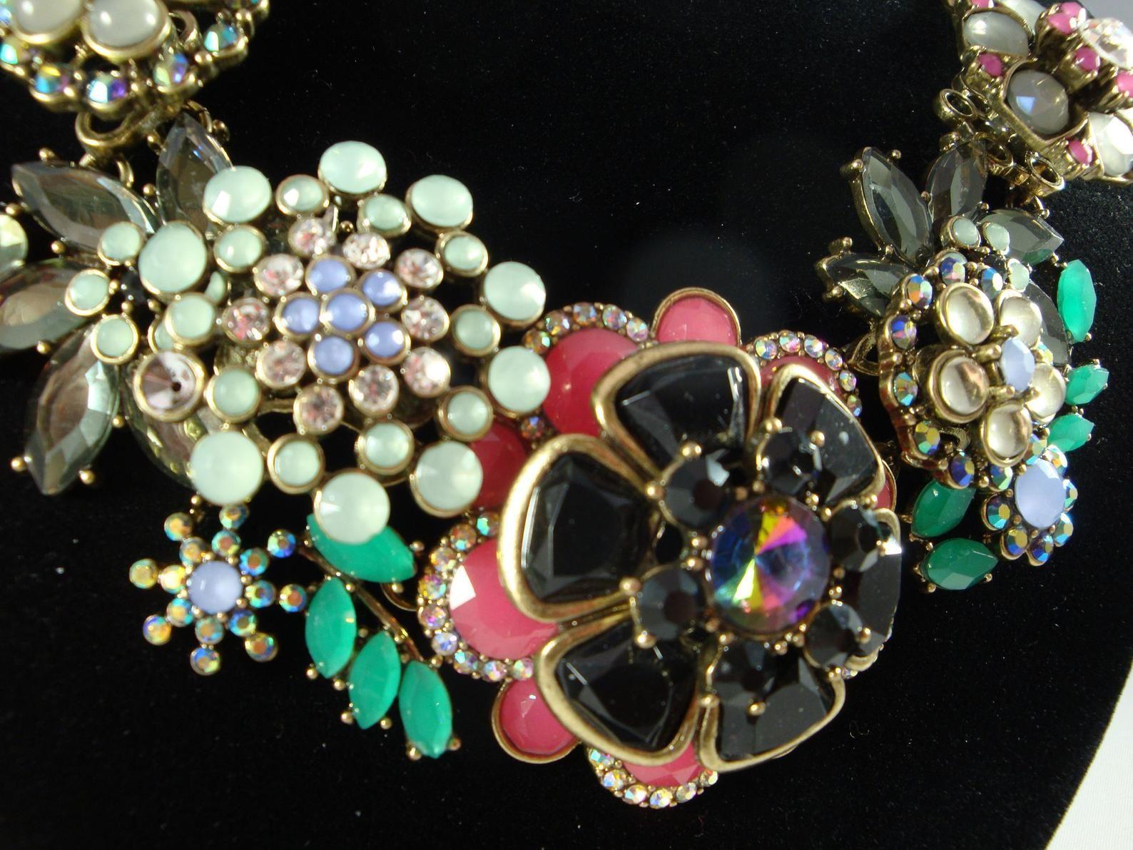Vintage Orange Amber Brown Bib Necklace Glass Jewel Bib Necklace Jeweled Statement Bib Necklace Joan Rivers Glass Jewel Bib Necklace