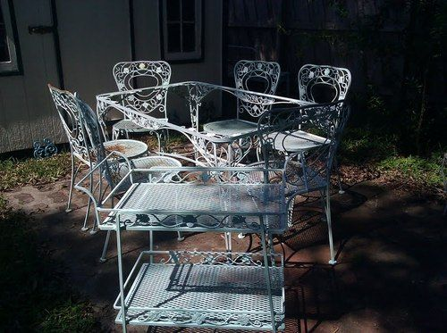 Salterini, Woodard Wrought Iron Table and Six Chairs Ornate Vintage ...