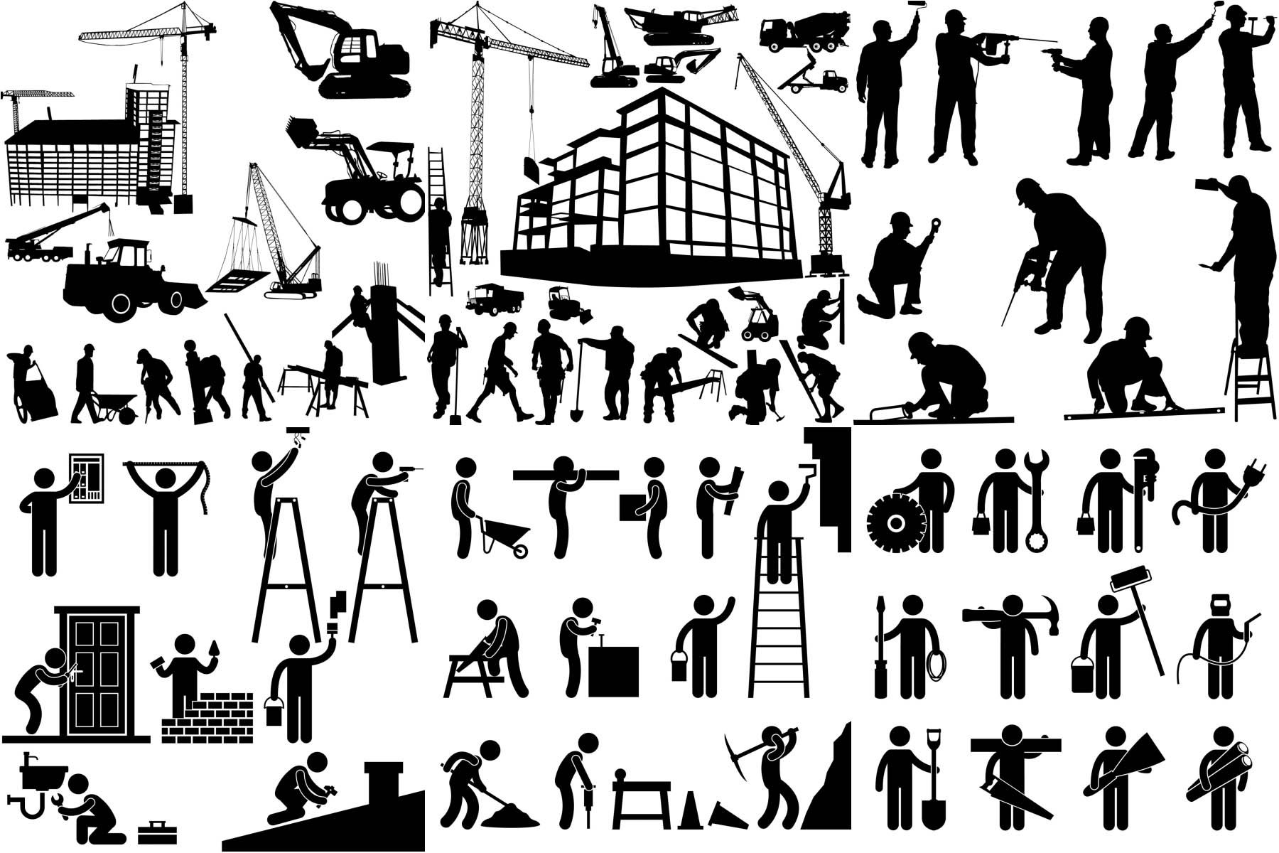 Worker Silhouette Building And Construction Equipment