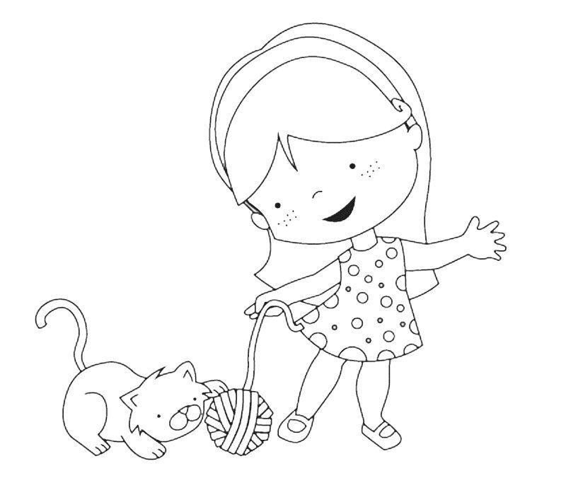Dibujo Para Imprimir Y Colorear De Una Nina Con Gato Dibujos Para Ninos Nino Jugando Dibujo Dibujos