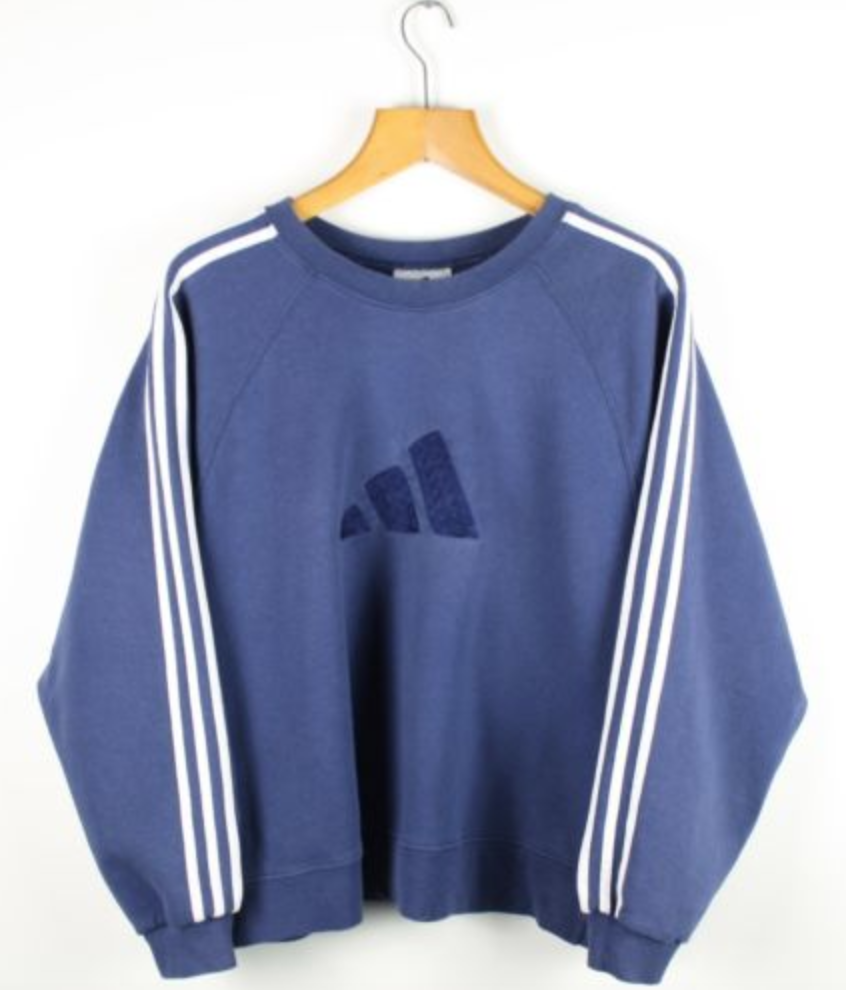FOR SALE  Vintage 90s Women s ADIDAS Blue Sweatshirt Jumper  e482418d33