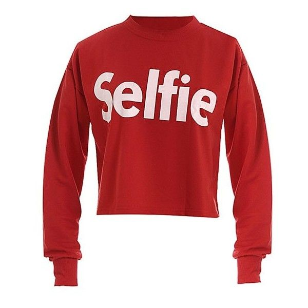 Cropped Boyfriend Sweatshirt With Selfie Print (€17) ❤ liked on Polyvore featuring tops, hoodies and sweatshirts