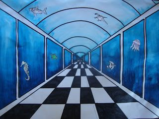 Once upon an Art Room: 1-point Perspective Aquariums, 5th or
