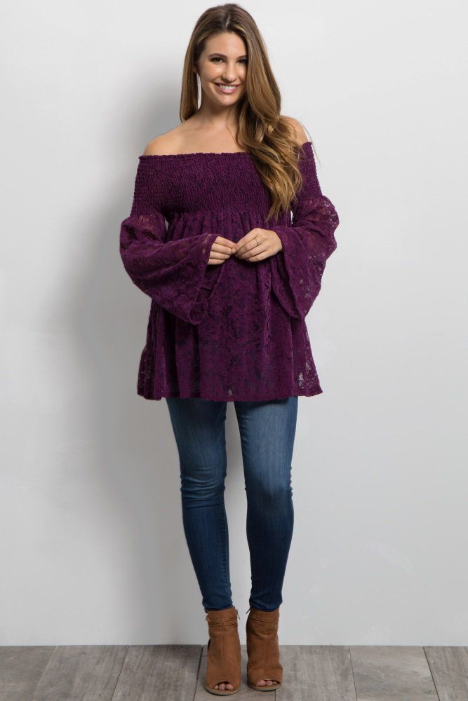 0c7b56c9cfd6a Purple Velvet Off Shoulder Maternity Top