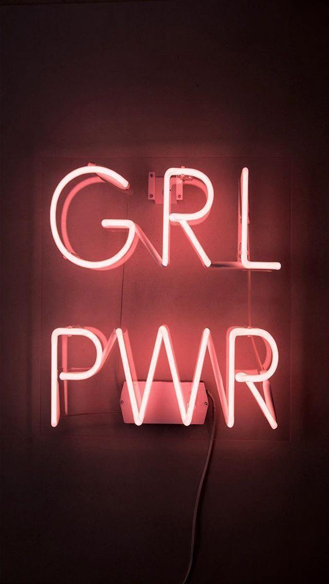 Para Mi Pared Azul Grlpwr Neon Neonsign Pink Cute Girlpower En 2020 Iphone Fondos De