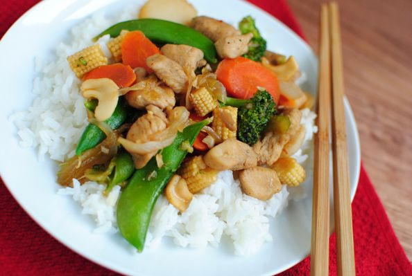 Spicy Cashew Chicken Stir Fry - This was tasty - Frozen stir-fry veggies worked well in this - the sauce could have been a little thicker. We may not have had to the correct chili garlic sauce - it didn't seem to be very spicy at all. But still very good.