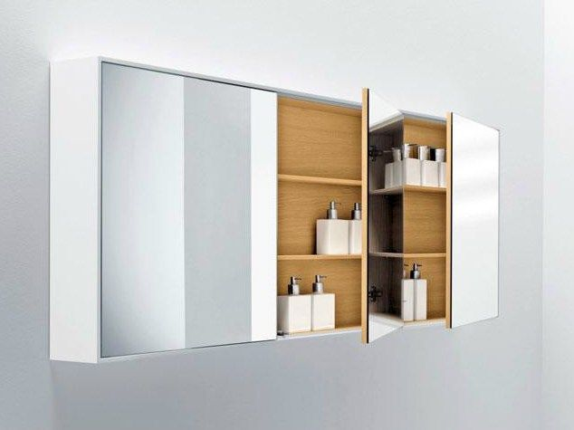 Wall-mounted bathroom mirror with cabinet SHAPE | Mirror with ...