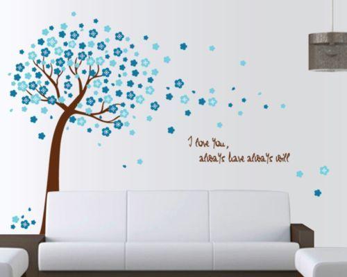 Details zu w111 Wandtattoo Wohnzimmer Schlafzimmer Baum Blüten - wohnzimmer deko in turkis