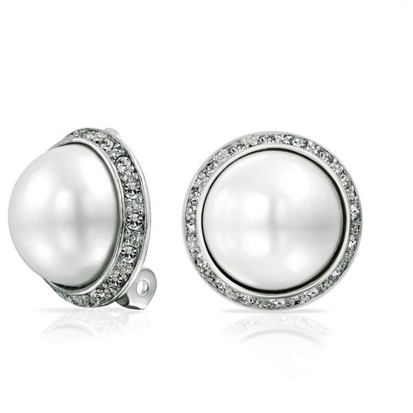 Bling Jewelry Crystal White Simulated Pearl Clip On Earring Rhodium Plated Brass vTnlp1UVBn
