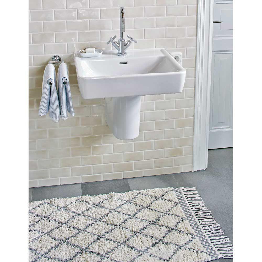 Liv Interior Baumwollteppich Morocco Creme Grau Baumwollteppiche Teppich Orientalisches Design