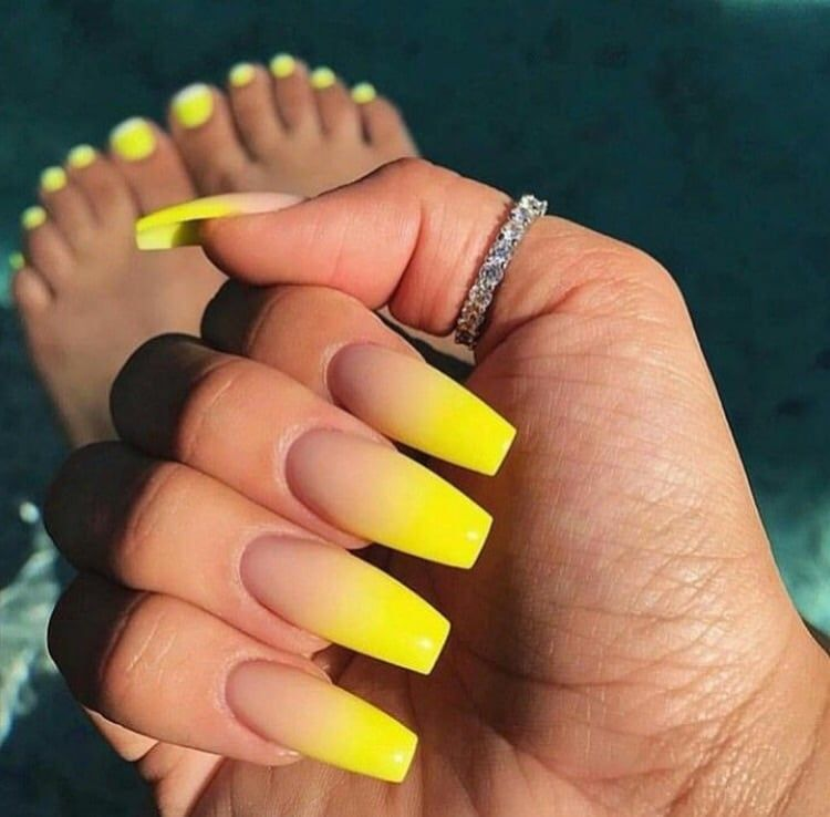 Medium Length Square Shaped Yellow Colored Tipped Nails Yellow Nails Ombre Acrylic Nails Winter Nails Acrylic