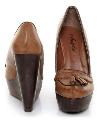 1bad594eb01 Angeles Lola Tan Tassel Platform Wedge Loafers  55.00