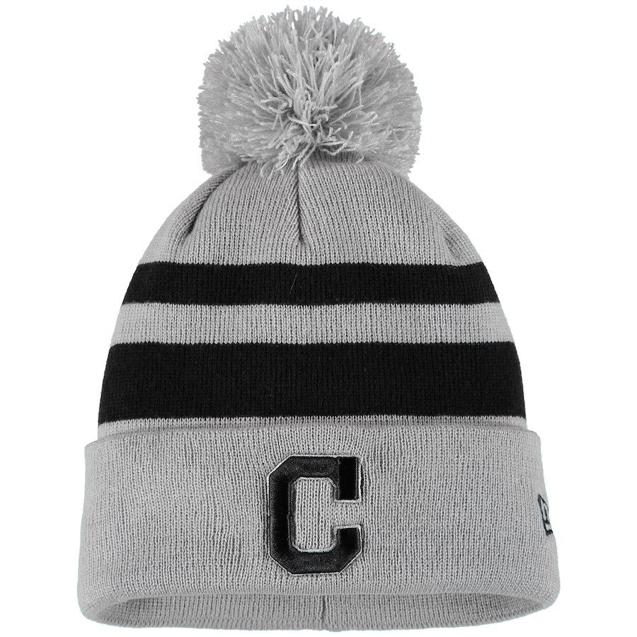 76a95ccee Men s Cleveland Indians New Era Gray Black Rebound Cuffed Knit Hat with  Pom