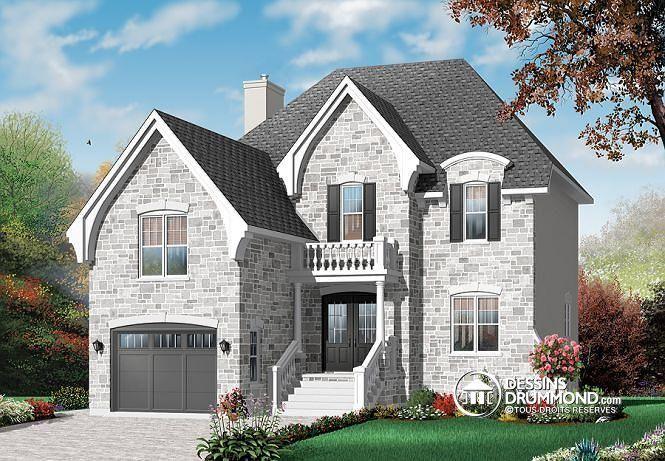 W3453 - Cottage pour terrain étroit, bureau, 3 chambres, garage - site pour plan de maison